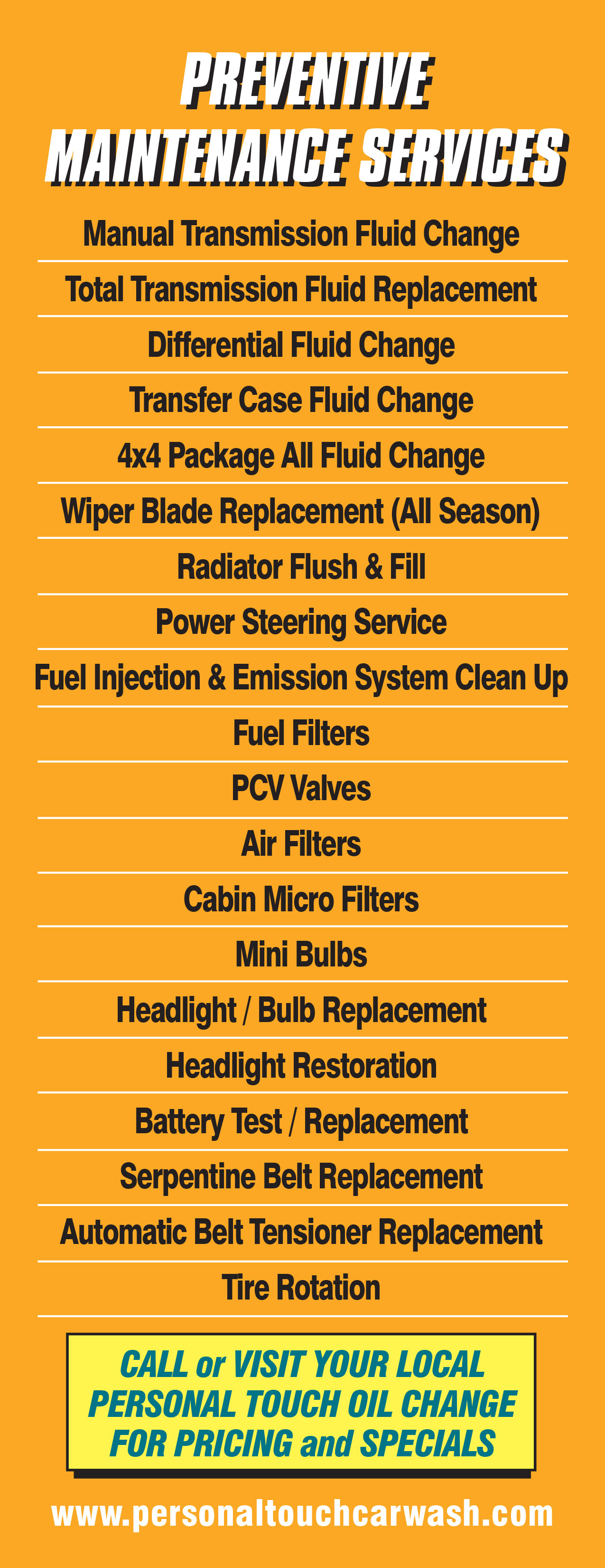Oil & Lube Additional Services